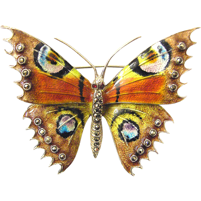 Vintage Butterfly Enamel 925 Sterling Silver Brooch Marcasites