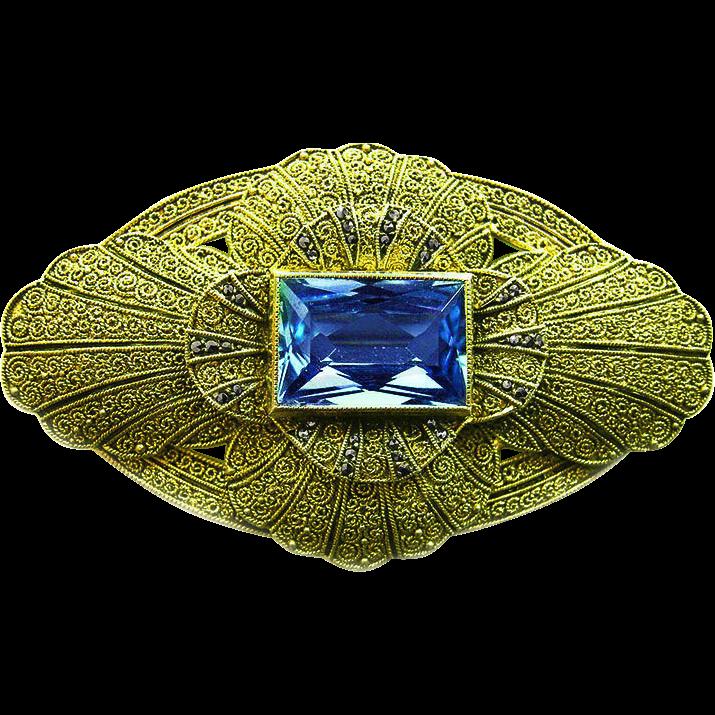 Vintage German Theodor Fahrner sterling silver brooch blue synthetic Topaz 30s