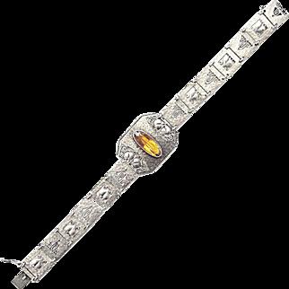 Theodor Fahrner sterling silver bracelet citrine antique Art Nouveau German c. 1914