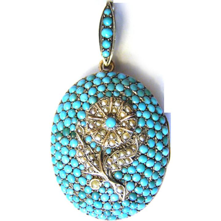 Magnificent Antique Victorian Biedermeier silver locket pendant turquoise sweet water pearl gilt