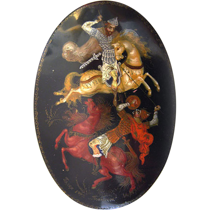 Palekh Troyka Composition Lacquer Box Palech signed Artist not researched
