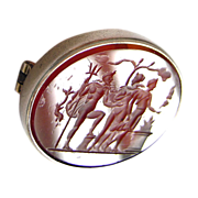 antique Intaglio cameo silver brooch with a carnelian