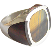 Taxco FDR Mexico Silver ring signed Pancho Modernist tigers eye