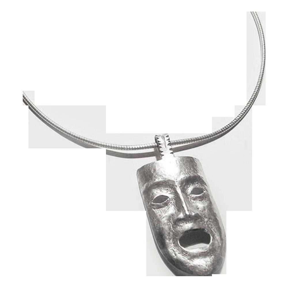 Art Deco silver pendant face mask 30s handwork