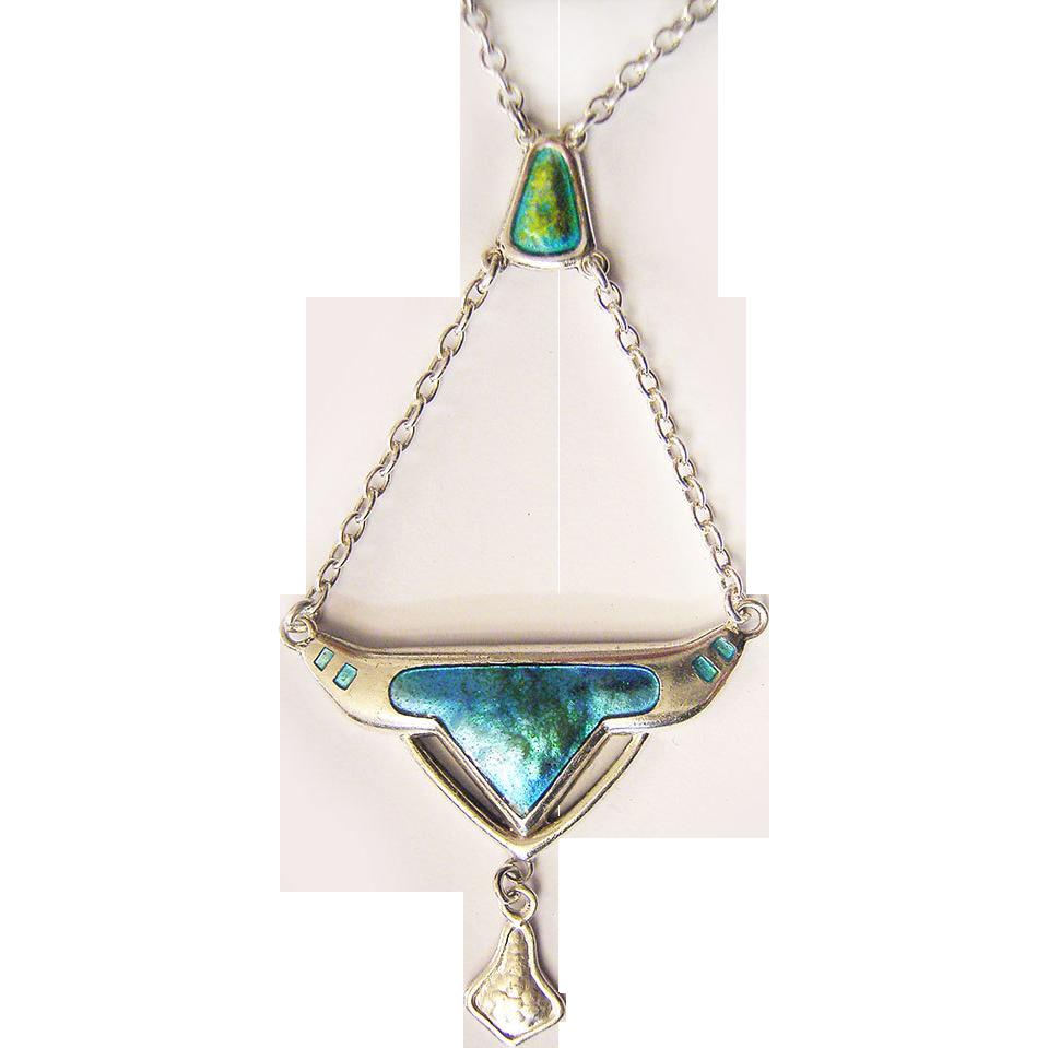 Antique Charles Horner Art Nouveau Silver Necklace Enamel Hallmarked 1909