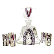 Karl Palda Haida Art Deco Decanter ruby red enamel crystal Bottle Liqueur Set Intaglio Cut