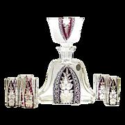 Karl Palda Haida Art Deco Decanter ruby red enamel crystal Bottle Liqueur Set Intaglio Cut