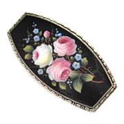 rare Art Nouveau Enamel Silver Brooch Roses forget-me-not hand painted Blossoms