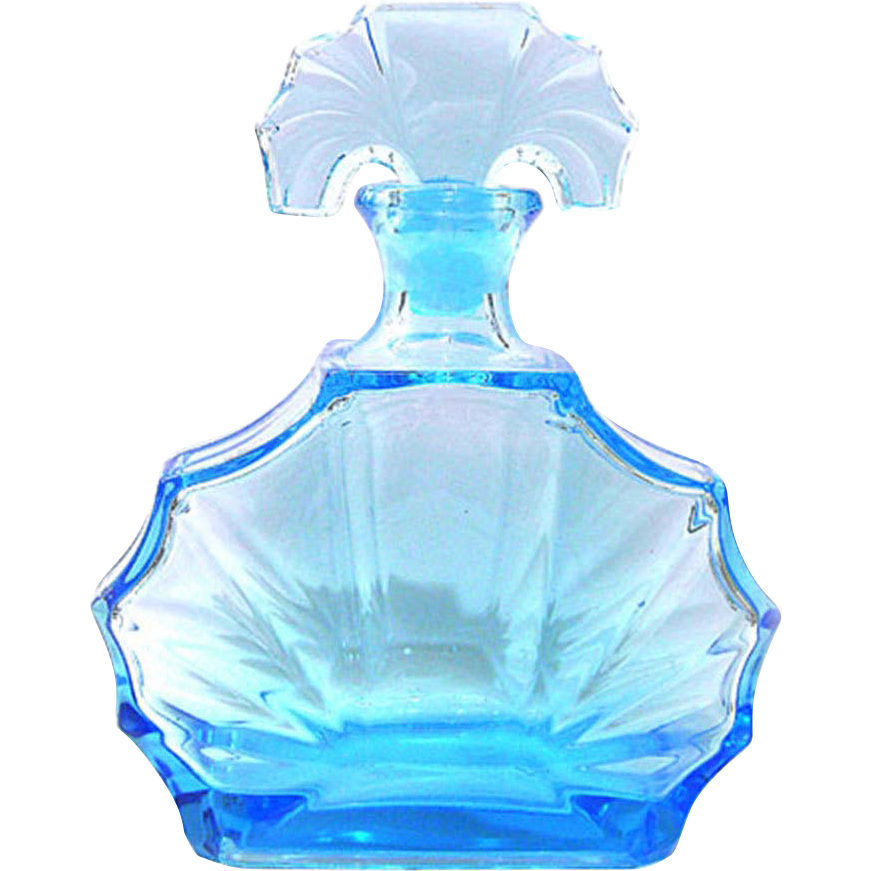 thick-walled Bohemian blue Art Deco decanter mould blown Glass 30s