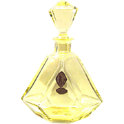 thick-walled yellow Art Deco decanter Crystal Glass polished 30s