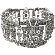 Edwardian Paste Silver Bracelet Art Deco Strass 20s