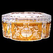 Lead crystal Glass Sweets box Vintage Cut Josephinenhutte Siegfried Haertel Artur Furle amber decor