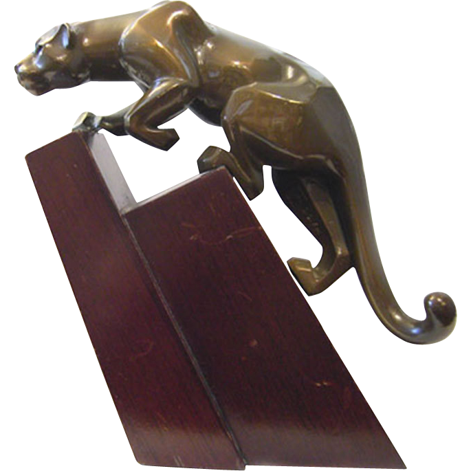 Jan Rosetta Bronze mountain lion cougar signed patinated rare statue