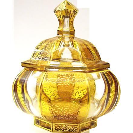 Lead crystal Glass Sweets box Vintage Cut Schaffgot'sche Josephinenhutte