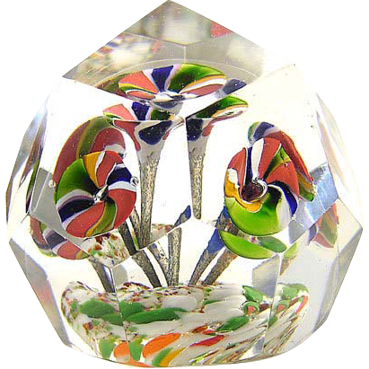 Antique Bohemia Faceted Flower Crystal Glass Paperweight c. 1900