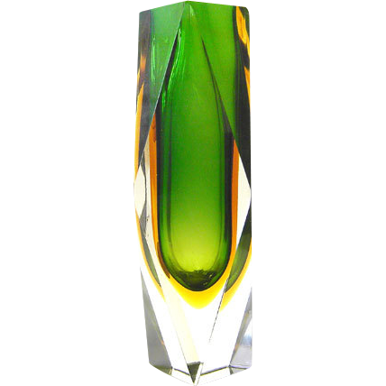 Sommerso Glass Vase Luigi Mandruzzato Murano green yellow Italy