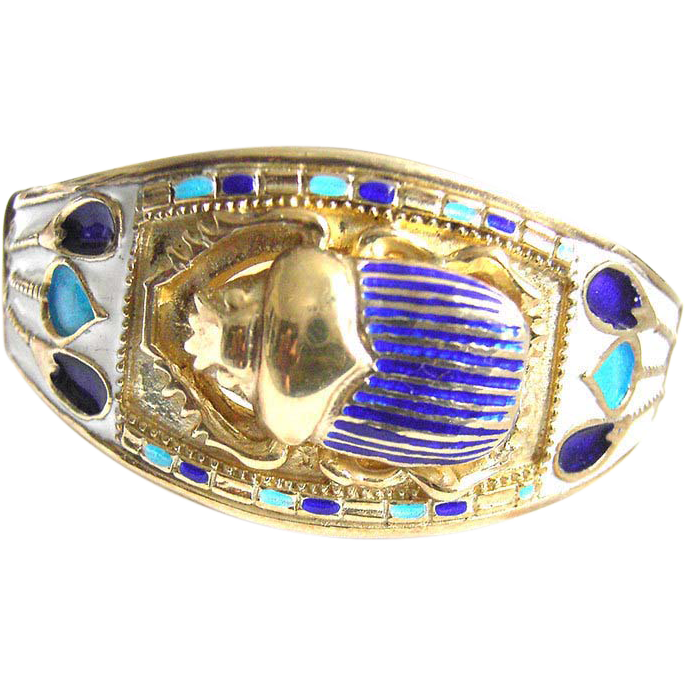 vintage Egyptian Sterling Silver 925 Gilt Bracelet scarab with Enamel white blue egypt c. 1970s