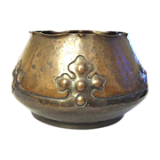 Arts and Crafts Copper  flower cache pot handwork rare 1900