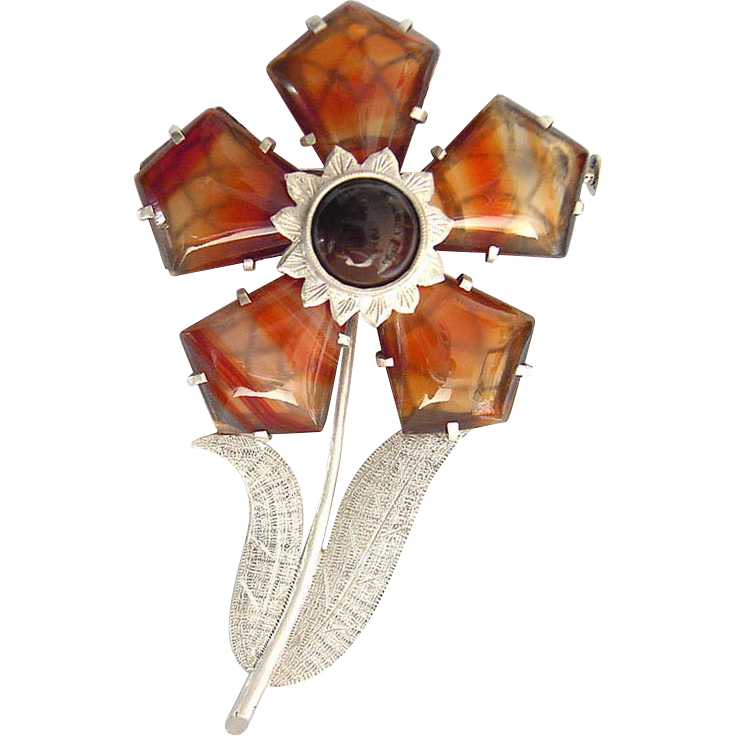 gorgeous large Art Deco Scottish Agate Silver Brooch Flower rare