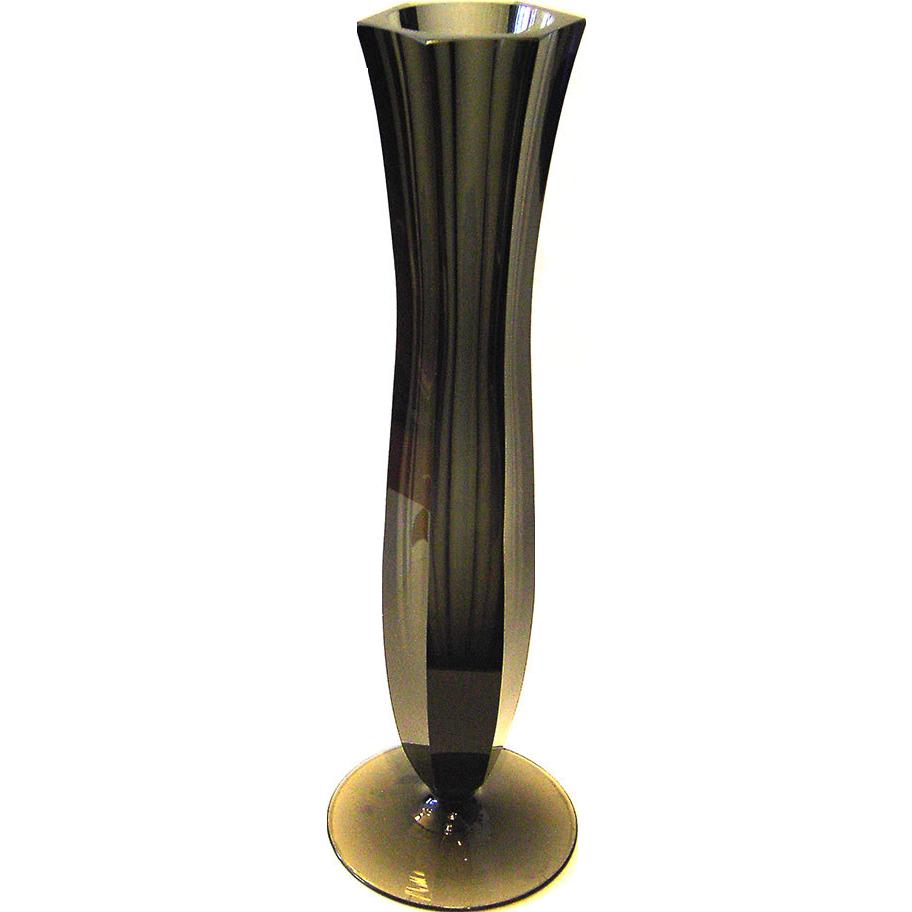 Art Deco Glass Vase Ludwig Moser Karlsbad Anthracite 30s vintage studio glass crystal bohemia