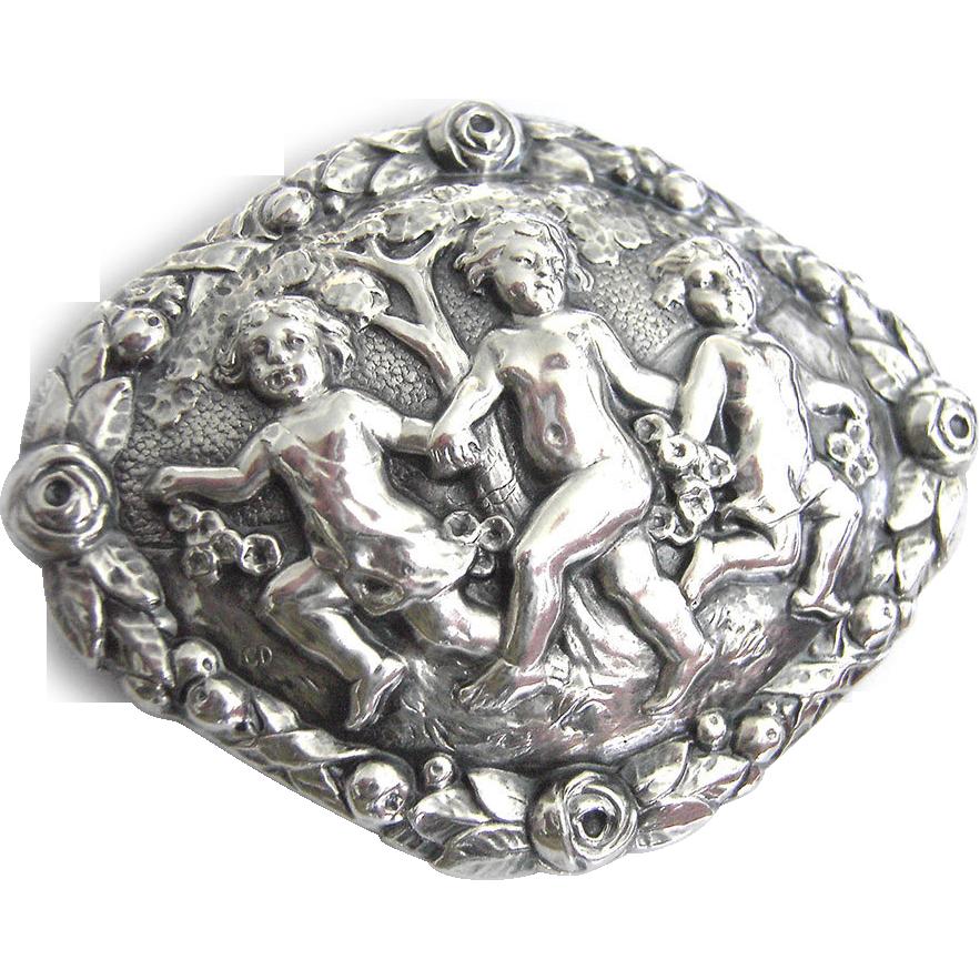 Art Nouveau Silver Brooch Putto Children