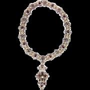 Historism Neo renaissance silver necklace gilt Garnet Pearl filigree