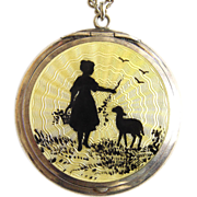Vintage Silver Pendant Mirror Locket Enamel London 1925 gilt