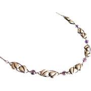 Antique Art Nouveau Silver Necklace with Amethyst