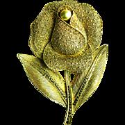 Art Deco Silver Pearl Flower Brooch Theodore Fahrner gilt