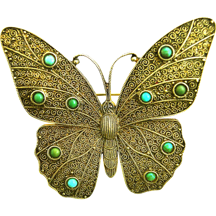 Art Deco Silver Turquoise Butterfly Brooch Theodore Fahrner gilt