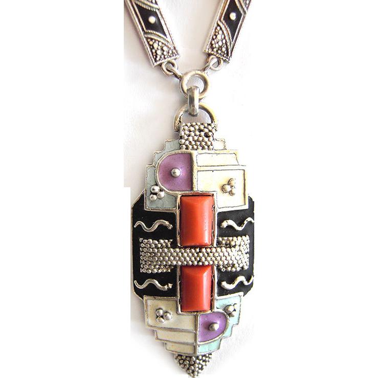 Gorgeous rare Art Deco Silver Enamel Necklace gilt Original 30s
