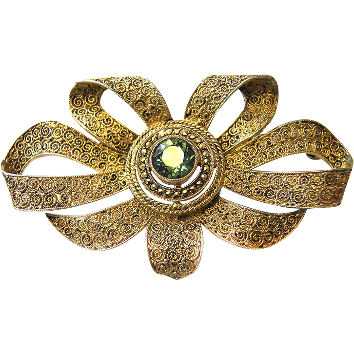 Art Deco Silver Loop Flower Brooch Theodore Fahrner gilt tourmaline colored Stone