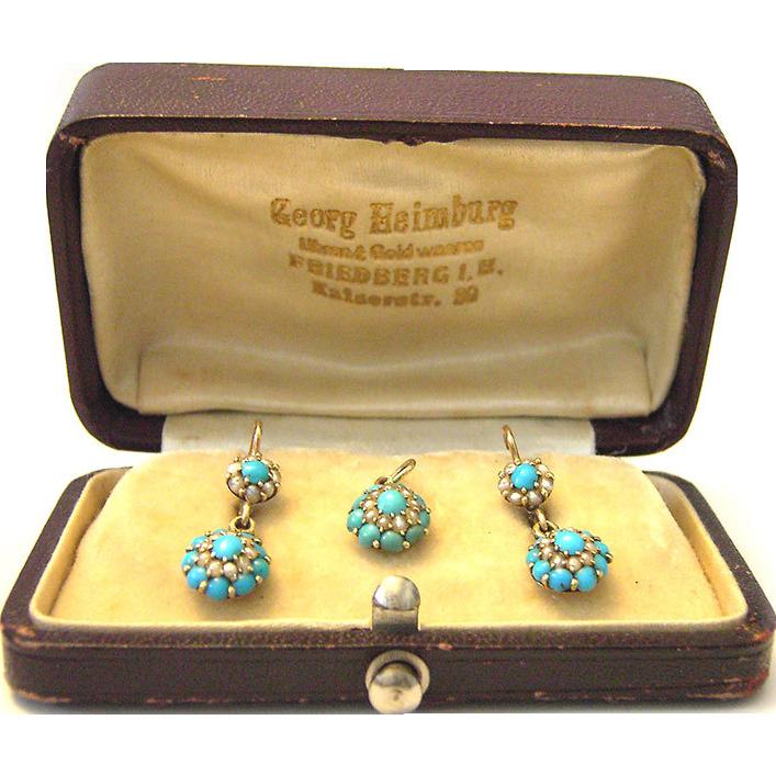 Antique Georgian 585 Gold Turquoise Earrings and Pendant Set micro sweet water seed pearls Biedermeier