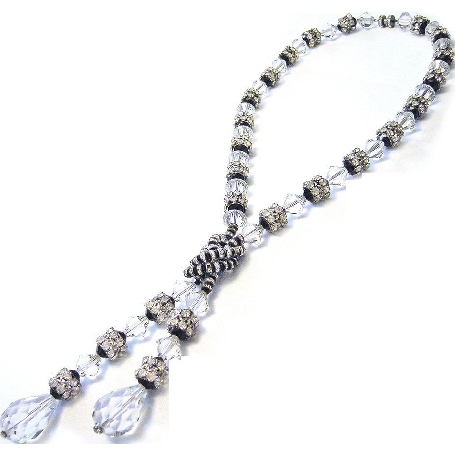 Gorgeous Glamorous Vintage Original Art Deco Crystal Glass Necklace Gablonz Bohemia 20s black white cut paste