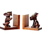Dan Karner Paris Art Deco bookends carved nut wood terrier dogs