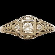 .15ct. Diamond & 18K White Gold Art Deco Engagement Ring By Belais- J34267