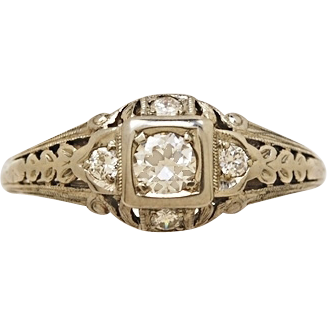 .15ct. Diamond & 18K White Gold Art Deco Engagement Ring By Belais- J34267