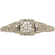 .22ct. Diamond & White Gold Art Deco Engagement Ring- J34301
