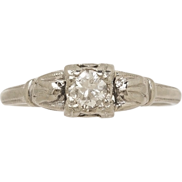 .22ct. Diamond & White Gold Art Deco Engagement Ring- J34301