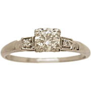 .45ct. Diamond & Platinum Art Deco Engagement Ring- J34333