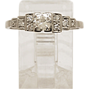 .33ct. Diamond & Platinum Art Deco Engagement Ring- J34535
