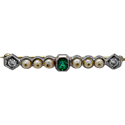 Antique Brooch .40ct. Emerald, Diamond, Pearl & Platinum Art Deco - J35810