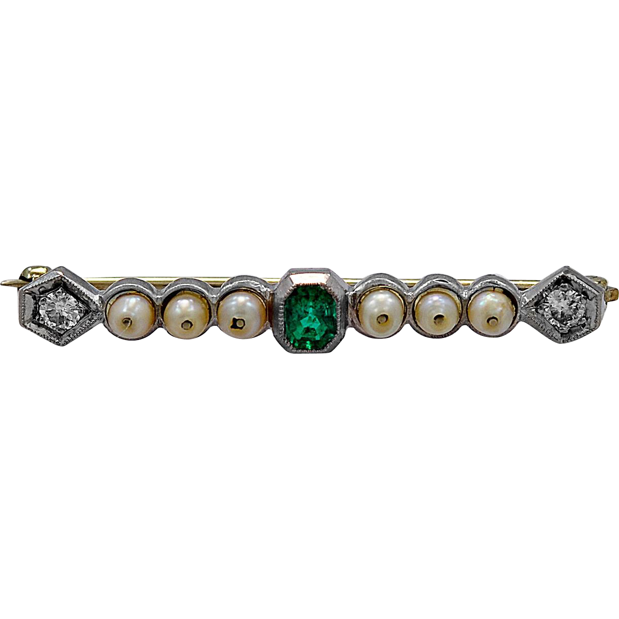 Antique Brooch .40ct. Emerald, Diamond, Pearl & Platinum Art Deco - J35810