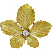 Antique Brooch Cartier .50ct. Diamond & 18K Yellow Gold Deco - J35818