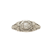 .15ct. Diamond & 18K White Gold Art Deco Engagement Ring by Powers & Mayer- J34382
