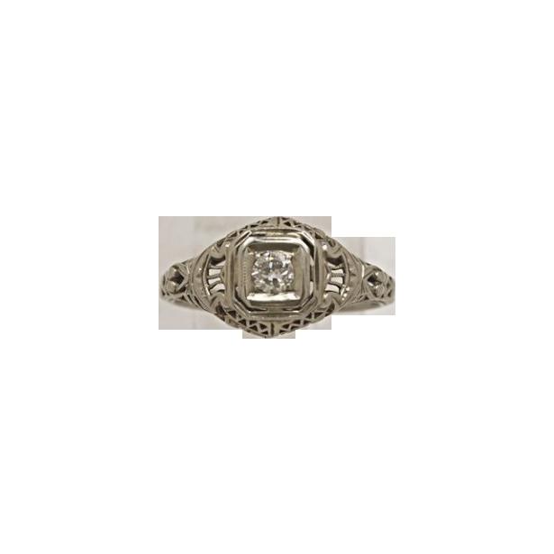 .15ct. Diamond & 18K White Gold Art Deco Engagement Ring - J34260