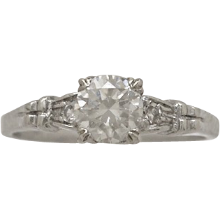 .52ct. Diamond & Platinum Art Deco Engagement Ring- J32508
