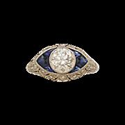 1.15ct. Diamond, Sapphire & Platinum Antique Engagement Ring- J34391