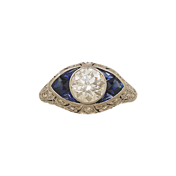 1.15ct. Diamond, Sapphire & Platinum Antique Engagement Ring- J34391