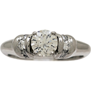 .75ct. Diamond & Platinum Vintage Estate Engagement Ring